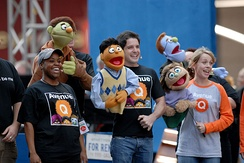 Avenue Q cast performing at Broadway on Broadway with the puppets.