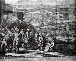 A 17th-century Dutch engraving representing the Battle of Azov (1696)
