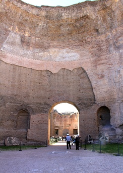 Ruins of the enormous Baths of Caracalla, completed in 216 on a 25 hectare (33 acre) site