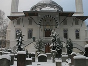 Berlin's Turkish cemetery alongside an Ottoman style mosque, which was built in 1863.[32]