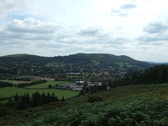 Church Stretton viewed from Nover's Hill; the Hazler and Ragleth hills are behind