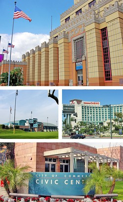 Images, from top, left to right: Citadel Outlets, Rosewood Park and Aquatorium, Commerce Casino, Civic Center