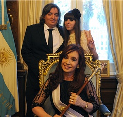 President Cristina Fernández de Kirchner posing with her children, Máximo and Florencia in 2011