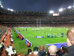 Croke Park floodlights in use during Six Nations Championship match