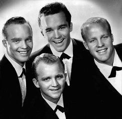 Crosby's sons from his first marriage. From left: The four Crosby brothers – Dennis, Gary, Lindsay and Phillip in 1959.