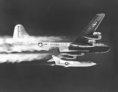 "A U.S. Navy P2B-1S (BuNo 84029 ""Fertile Myrtle"") dropping the D-558-2 experimental high-speed research aircraft, 1950."