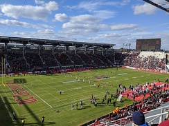 First ever XFL kickoff between the DC Defenders and Seattle Dragons at Audi Field.