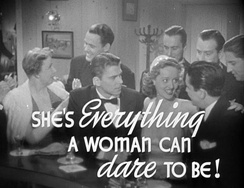 "photograph of people at a bar in formal wear with label ""She's everything a woman can dare to be"""