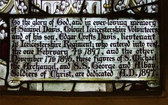 This inscription is part of a window in St Mary's church, Hinckley