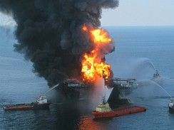 Anchor handling tugs combat the fire on the Deepwater Horizon while the United States Coast Guard searches for missing crew