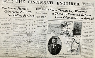 "The Enquirer front page, June 19, 1910. A headline beginning with ""Three shakes"" is typical of the Enquirer's style during this period."