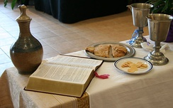 Table set for the Eucharist in an ELCA service