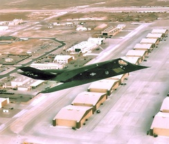 7th Fighter Squadron F-117A making a flyover of Holloman AFB, New Mexico, 2005