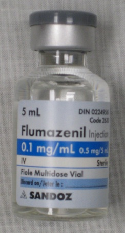 A vial of flumazenil solution for injection