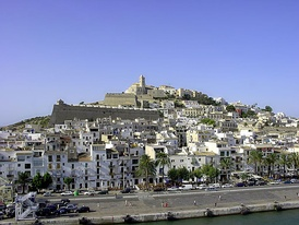 View of the old town from the port