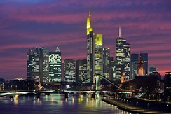 Central business district of Frankfurt, Germany.