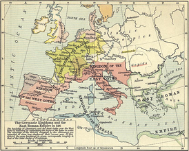 Map of the East Roman Empire and the Germanic kingdoms of the western Mediterranean in 526