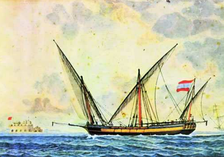 The Greek ship Panagia tis Ydras, built 1793, flying the Greco-Ottoman flag.