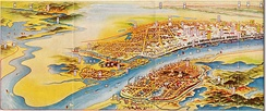 A map of Wuhan painted by Japanese in 1930, with Hankou being the most prosperous sector