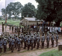 PAIGC forces raise the flag of Guinea-Bissau in 1974.