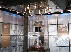 The original Stanley Cup in the bank vault at the Hockey Hall of Fame in Toronto, Ontario