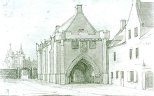 The gatehouse built by James IV, with the north-west tower of the palace behind, in a 1746 drawing by Thomas Sandby.