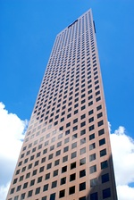 The Georgia-Pacific Tower in Atlanta, Georgia (1981), a modernist pink skyscraper.
