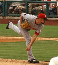 Jeremy Affeldt pitching for the Reds in 2008