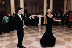 The Princess of Wales and John Travolta dancing at the White House, November 1985