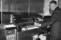 "Israeli composer Josef Tal at the Electronic Music Studio in Jerusalem (c. 1965) with Hugh Le Caine's Creative Tape Recorder (a sound synthesizer) aka ""Multi-track"""