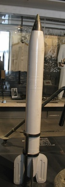 An M13 rocket for the Katyusha launcher on display in the Musée de l'Armée: Its solid-fuel rocket motor was prepared from nitrocellulose.