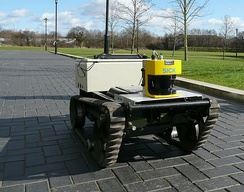 This mobile robot uses its lidar to construct a map and avoid obstacles.