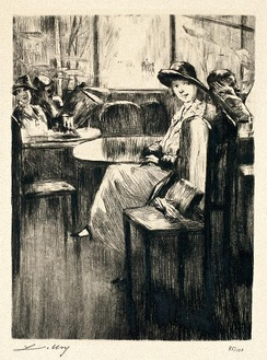 Young Girl in cafe with street-view, etching by Lesser Ury, 1924