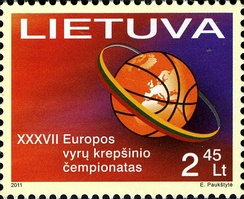 Postage stamp issued to commemorate the EuroBasket 2011