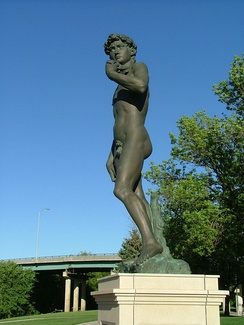 Replica of Michelangelo's David in Fawick Park.