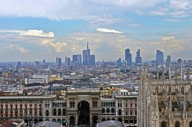 A view over the business district of Milan: with a metropolitan area of 7.4m people,[25] it is Italy's most important industrial, commercial and financial center.