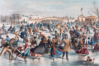 An 1862 lithograph depicting skating in the 19th century