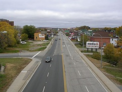Looking northwest down Main Street, from a pedestrian/cyclist overpass near Chippewa Creek