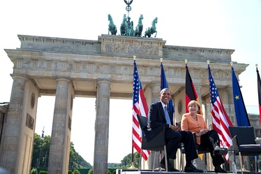 President Obama and Germany's Chancellor Angela Merkel at the Brandenburg Gate in Berlin, June 19, 2013
