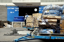 Oxfam relief supplies outside the Siginon warehouse in Nairobi, Kenya.