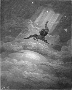 Illustration (1866) for John Milton's Paradise Lost by Gustave Doré, showing Satan's fall from heaven
