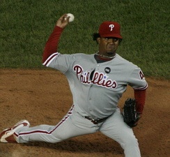 Martinez pitching during his brief stint with the Phillies in 2009