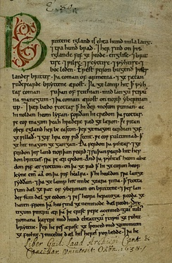 The Peterborough Chronicle, in a hand of about 1150, is one of the major sources of the Anglo-Saxon Chronicle; the initial page