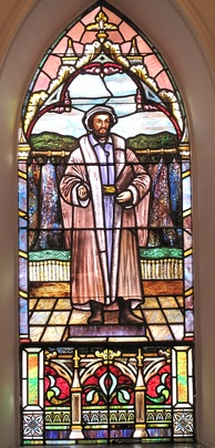 The Melanchthon window attributed to the Quaker City Stained Glass Company of Philadelphia, Pennsylvania, at St. Matthew's German Evangelical Lutheran Church in Charleston, South Carolina