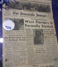 A 1965 edition of the Pensacola Journal announcing the beginning of UWF. It is located on the bottom floor of the library.