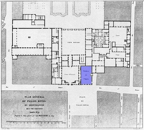 Plan of the Palais-Royal in 1679 with the location of the first theatre in blue(48°51′46″N 2°20′14″E / 48.862894°N 2.337255°E / 48.862894; 2.337255)
