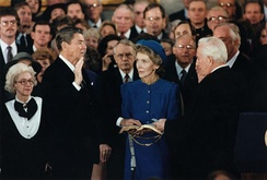 Reagan is sworn in for a second term as president by Chief Justice Burger in the Capitol rotunda