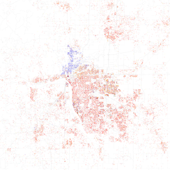 Map of racial distribution in Tulsa, 2010 U.S. Census. Each dot is 25 people: White, Black, Asian, Hispanic or Other (yellow)