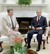 President Ronald Reagan and Soviet double agent Oleg Gordievsky, who later told the west how close the Able Archer 83 exercise had brought the Soviets to ordering a First Strike.