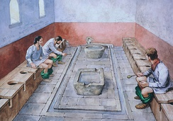 Reconstruction drawing showing the communal latrines in use, Housesteads Roman Fort (Vercovicium)